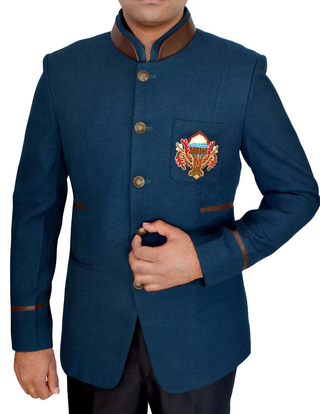Mens Steel Blue Jodhpuri Suit Attractive Logo Design