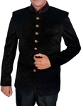 Mens Black Jodhpuri Suit Self Design 2 Pc