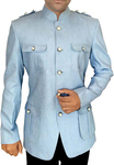 Mens Sky Blue 2 Pc Jodhpuri Suit Safari