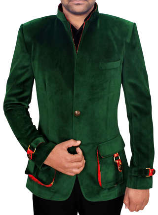 Mens Green 2 Pc Jodhpuri Suit V Neck