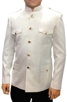 Mens Cream 2 Pc Jodhpuri Suit Safari Style