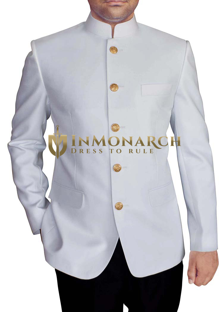 Mens White 2 Pc Mandarin Collar Jodhpuri Suit