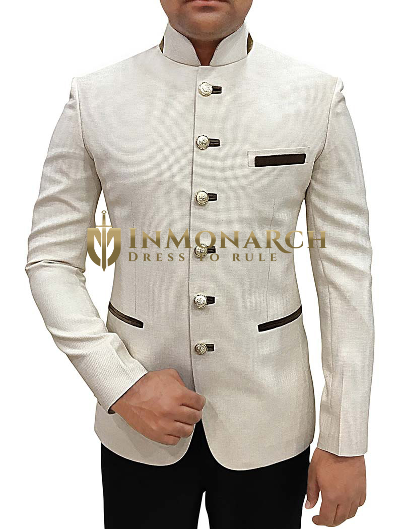 Mens Cream Jute 2 Pc Jodhpuri Suit Trimmed
