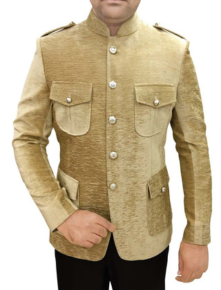 Mens Beige Jute Velvet 2 Pc Safari Jodhpuri Suit