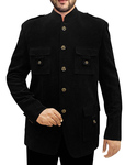 Mens Black Corduroy 2 Pc Jodhpuri Suit 4 Pocket