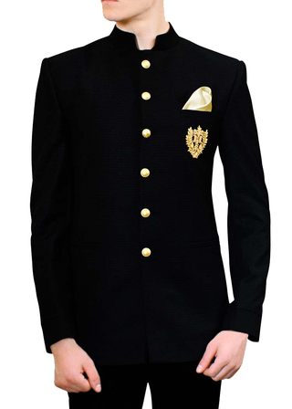 Mens Black Jodhpuri Suit with pocket embroidered Motif Suit Jacket