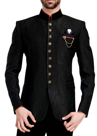 Mens Black 4 Pc Wedding Jodhpuri Suit 9 Button
