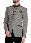 Mens Natural 3 Pc Jodhpuri Suit Checks 6 Button