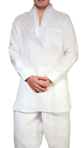 Kurta Pajama for Men White Short Kurta Pyjama Patch Work Kurta Pajama