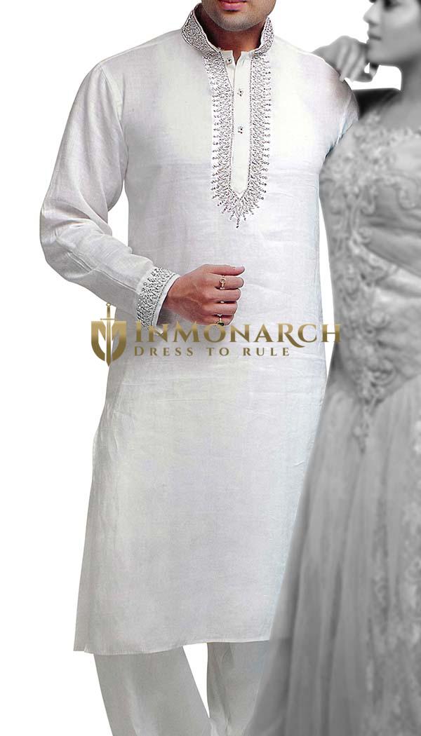Mens White Linen Kurta Pyjama Designer Embroidered Kurta Pajama