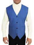Mens Sky Blue Polyester Viscose Checks Vest Partywear