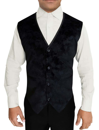 Mens Black Designer Velvet Vest V Neck