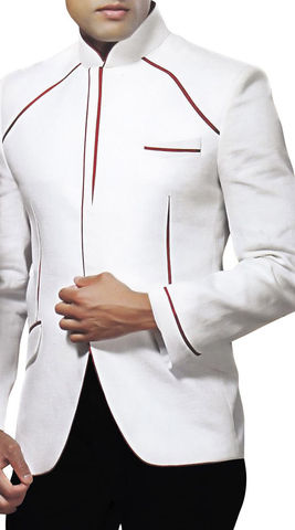 Mens White Nehru Jacket Trimming Work