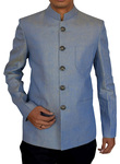 Mens Blue Linen 2 Pc Indian Nehru collar Suit Partywear