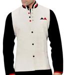 Mens Cream Linen Nehru Vest Designer