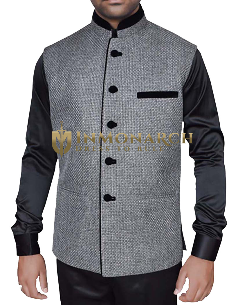 Mens Gray Nehru jacket Sleeve Less Jacket Latest 5 Button