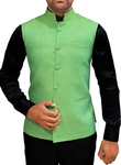 Mens Light Green Waistcoat Linen Nehru Vest 5 Button