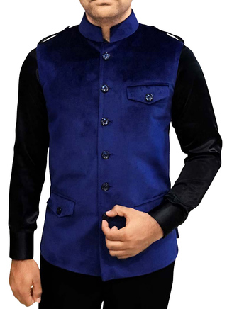 Mens Nehru Jacket Navy Blue Nehru Vest Safari Style