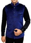 Mens Nehru Jacket Navy Blue Nehru Vest Safari Style