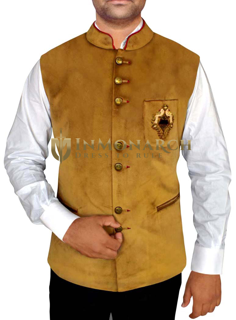 Mens Golden Indian jacket Nehru Waistcoat Embroidery Work