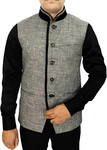 Mens Indian jacket Gray Nehru Vest Trimmed Velvet