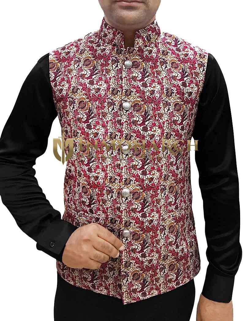 Mens Cream Nehru Vest Floral Pattern Indian jacket
