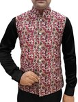 Mens Cream Nehru Vest Floral Pattern Indian jacket