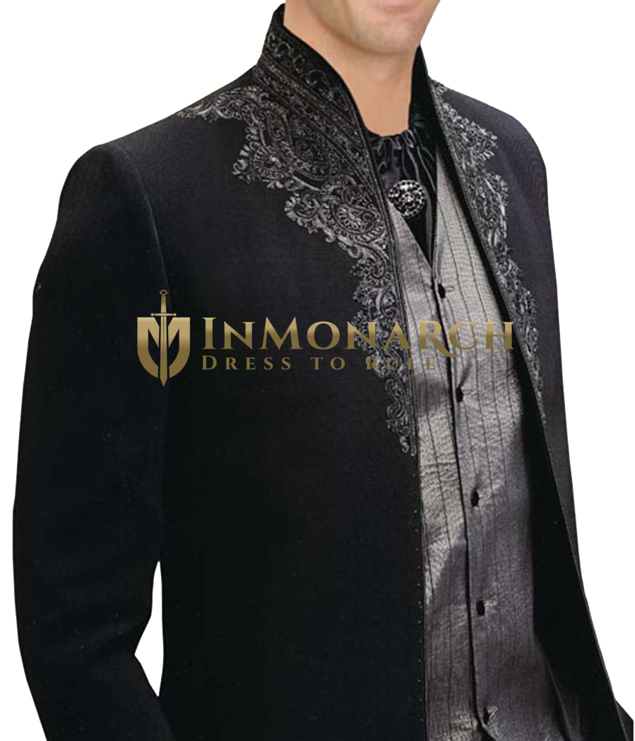 Mens Black 5 Pc Tuxedo Suit Designer Embroidered