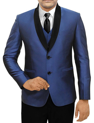 Mens Navy Blue 5 Pc Partywear Suit Two Button