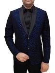 Mens Slim fit Casual Black Polyester Blazer sport jacket coat Blue Designs