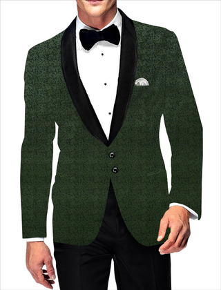 Mens Casual Blazer Green Slim fit Two Button Sport Jacket Coat digital print Velvet