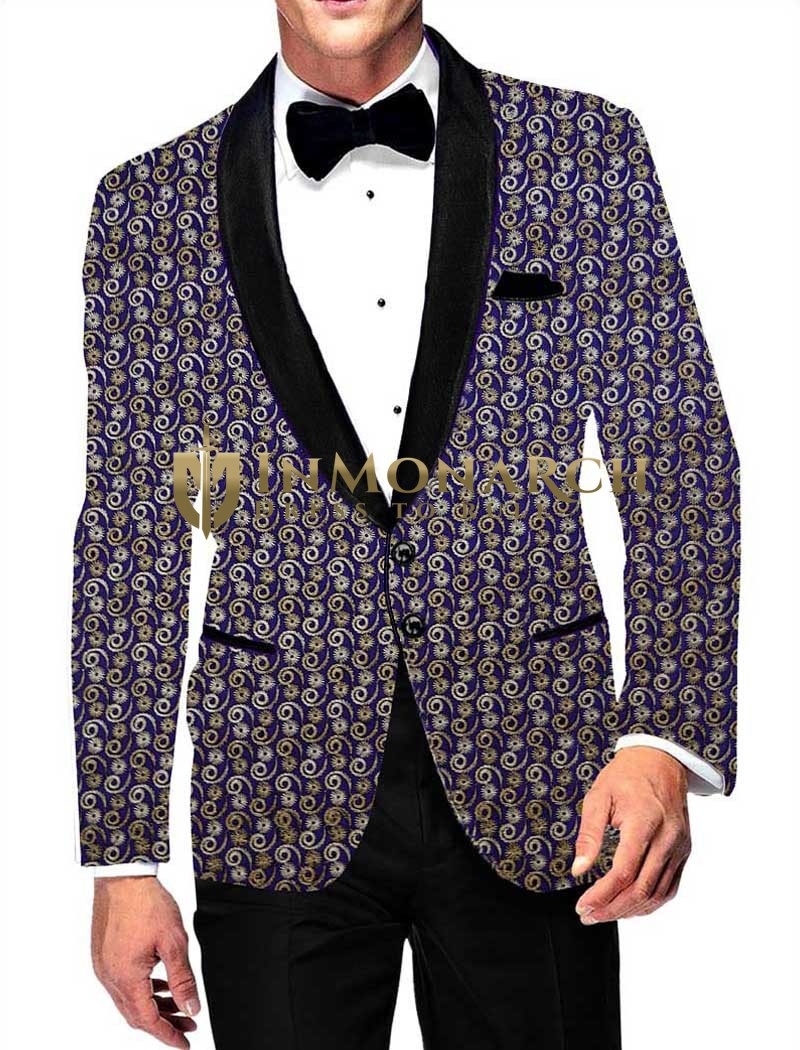 Mens Slim fit Casual Blazer Navy Blue Embroidered Velvet Two Button Sport Jacket Coat