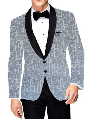 Mens Two Button Slim fit Sport Blazer aqua blue Jacket Black Shawl Lapel Liner Printed Coat