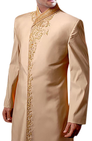 Mens Indo Western Outfit Khaki Wedding Sherwani Designer Embroidered