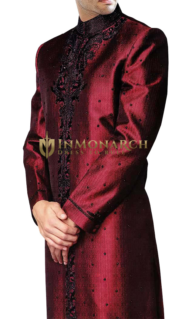 Mens Sherwani Maroon Groom Wedding Sherwani mens Indian Suit Outfit