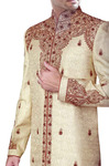 Groom Sherwani For Men Beige Wedding Sherwani Red Embroidered