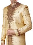 Men Sherwani Light Yellow Embroidered Sherwani ForMen Designer