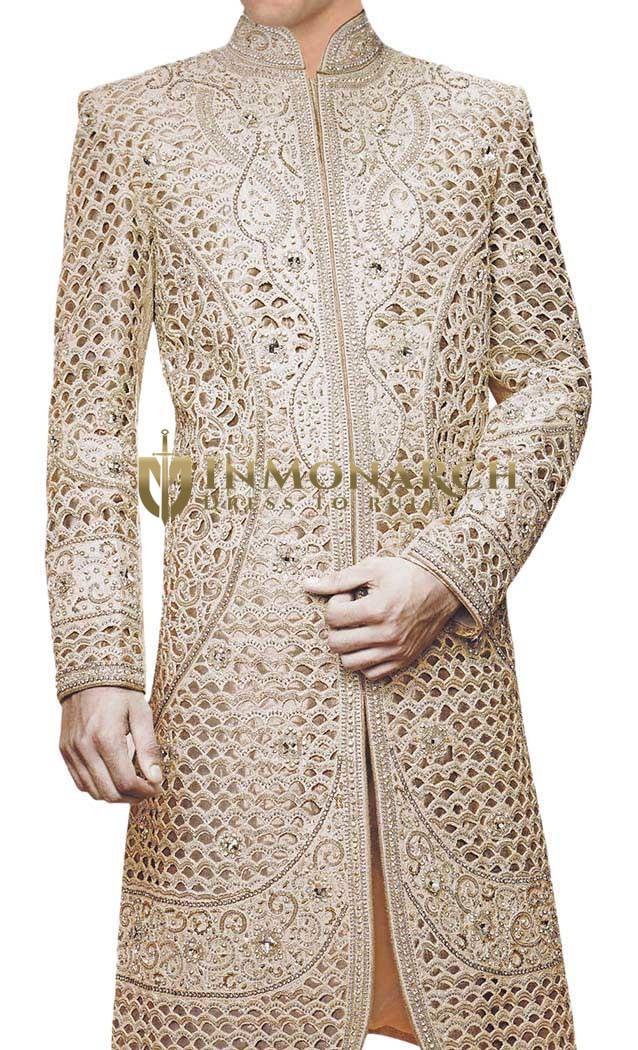 Mens SherwaniFor Men Beige Wedding Sherwani Cut work IndianSuit