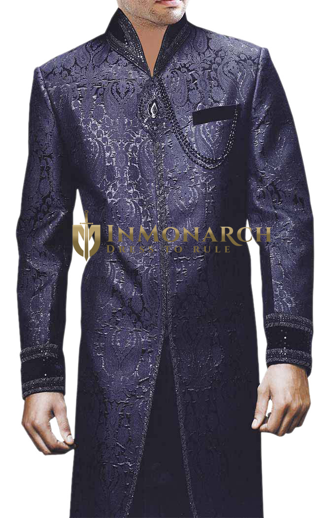 Groom Sherwani For Men Wedding Navy Blue Bollywood Sherwani Traditional