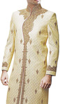 Mens Indo Western Yellow Designer Indian Suit Sherwani Embroidered