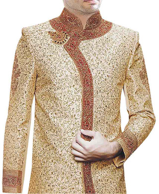 Mens Indian Wedding Men Beige Indian Wedding Sherwani For Men