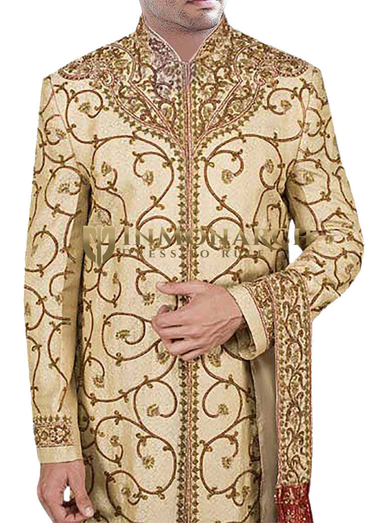 Mens Western Attire Golden Wedding Sherwani Red Embroidered