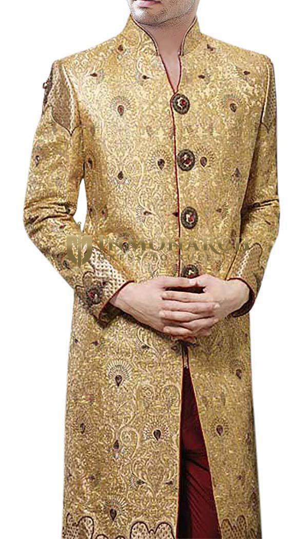 Mens IndianSherwani Yellow Designer Wedding Sherwani Heavywork