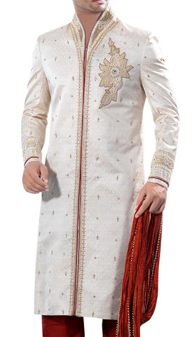 Mens Indo Western Outfit Beige Wedding Ethnic Sherwani For Men