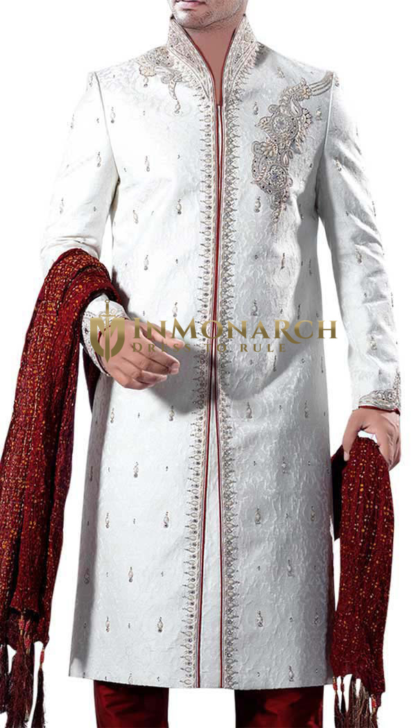 Mens Sherwani White Sherwani Bridegroom Western Attire Indian Suit