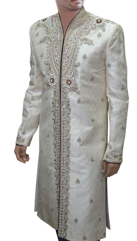 Mens Sherwani Cream Sherwani indian Wedding Hand Embroidered