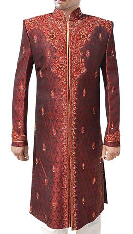 Groom Sherwani ForMen Maroon Designer Indo WesternOutfit Sherwani