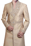 Mens Western Attire Wheat Designer indian Wedding Sherwani Angrakha Style