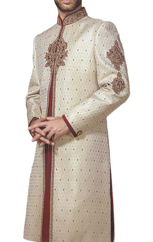 Groom Sherwani For Men Wedding Ivory Embroidered sherwani For Groom