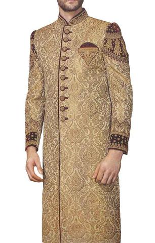 Mens Indo Western Golden Wedding indian WeddingMen Sherwani Embroidered